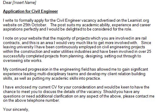 cover letter for resume of civil engineer