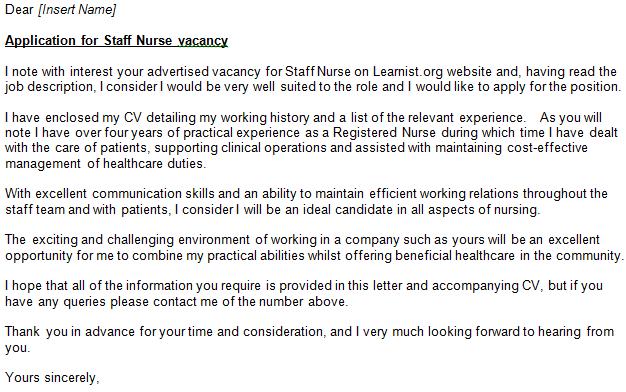 Nurse Nursing Cover Letter For Job Applications