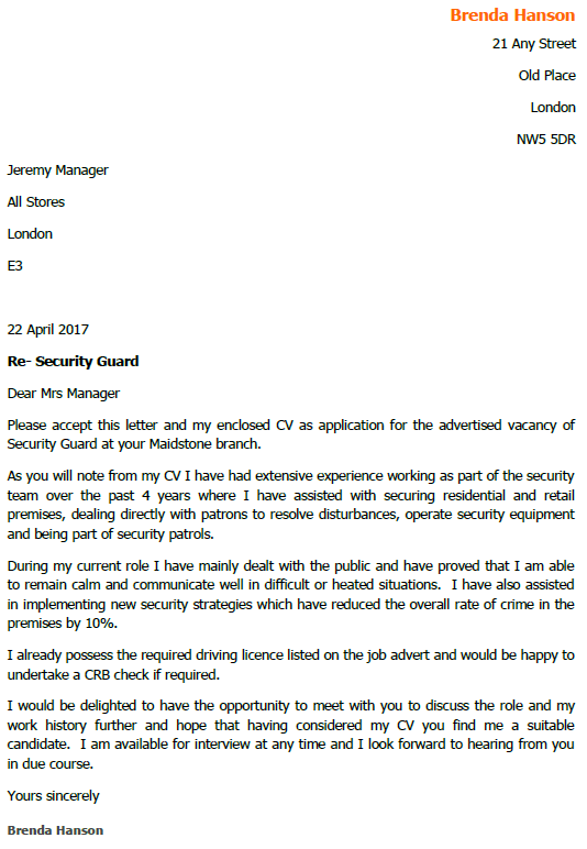 Security Guard Job Application And Cover Letter Example