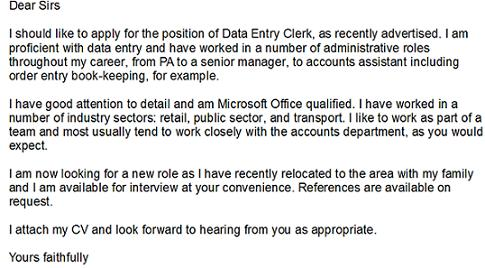 Data Entry Clerk Cover Letter Example Learnist Org