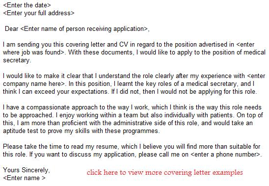 Medical Secretary Job Application Letter Example