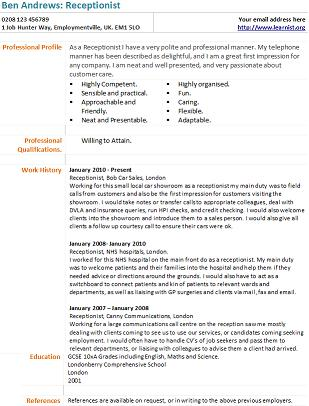 Receptionist CV Example and Template - Learnist.org