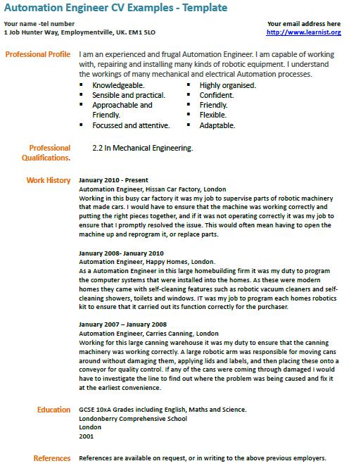 Automation Engineer CV Example  Learnistorg