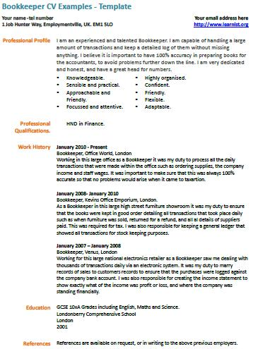 Bookkeeper CV Example Learnist Org