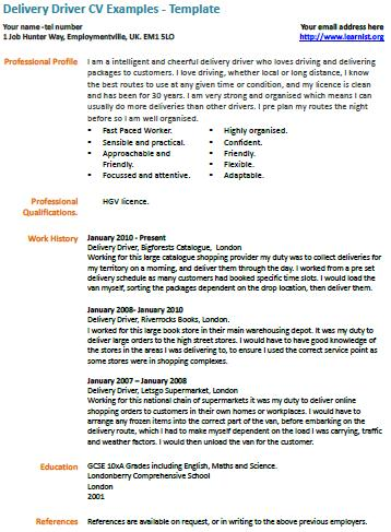 Example Of Hgv Driver Cv Resume Objective Examples