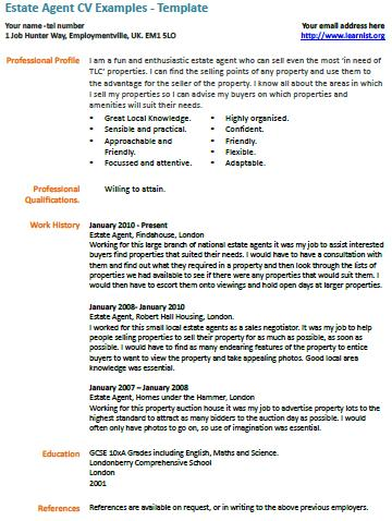 Estate Agent CV Example Learnist Org