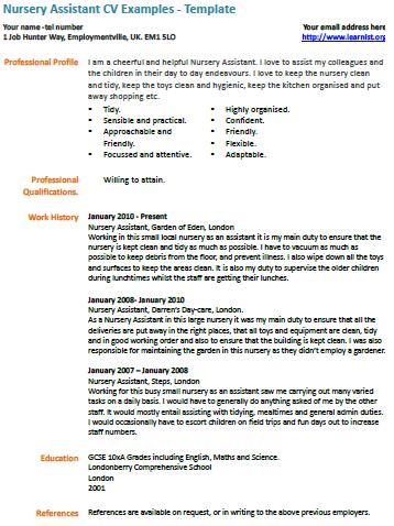 Nursery assistant cv example for Childminder cv template