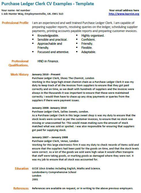 Purchase Ledger Clerk CV Example  Learnistorg