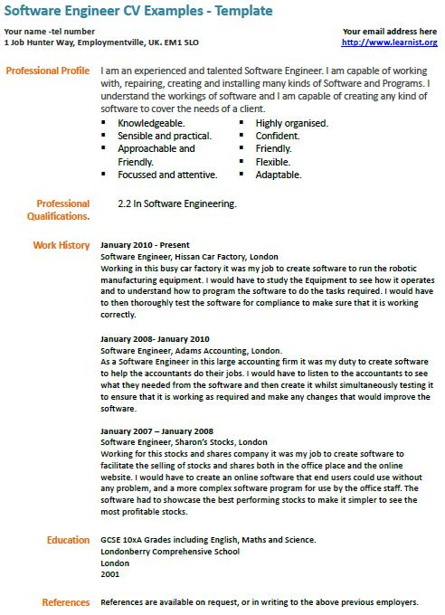 Software Engineer CV Example Learnist Org