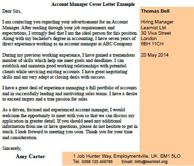 Cover Letter For Customer Service Account Manager Customer ...