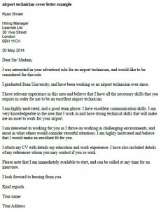 Airport Technician Cover Letter Example  Learnistorg
