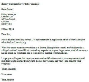 Beauty Therapist Cover Letter Example  Learnistorg