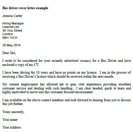 Bus Driver Cover Letter Example  Learnistorg