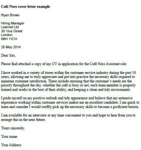 Caffe Nero Cover Letter Example  Learnistorg
