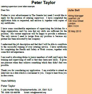 Catering Supervisor Cover Letter Example  Learnistorg