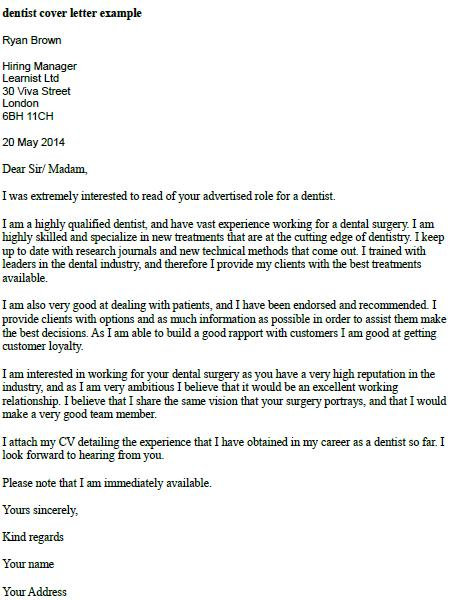 Dentist Cover Letter Example  Learnistorg