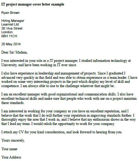 IT Project Manager Cover Letter Example  Learnistorg