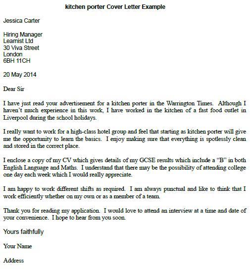 cover letter for kitchen porter