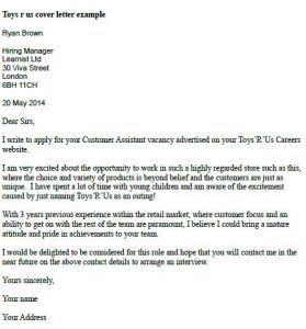 Toys R Us Cover Letter Example  Learnistorg