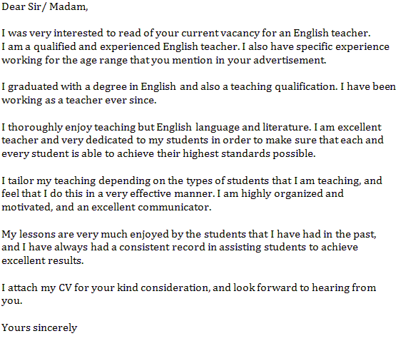 Cover Letter Samples For English Teacher | Application ...