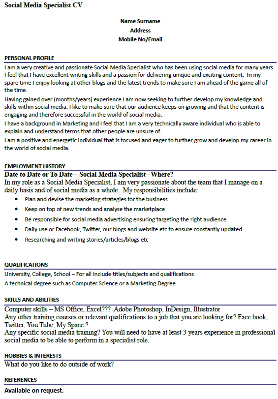 Interest And Hobbies For Resume Job Resume Example