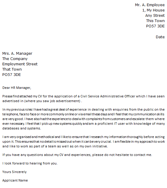Civil Service Jobs Cover Letter Example  Learnistorg