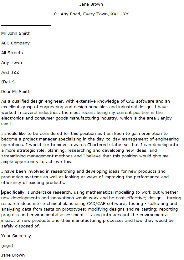 Design Engineer Cover Letter Example  Learnistorg