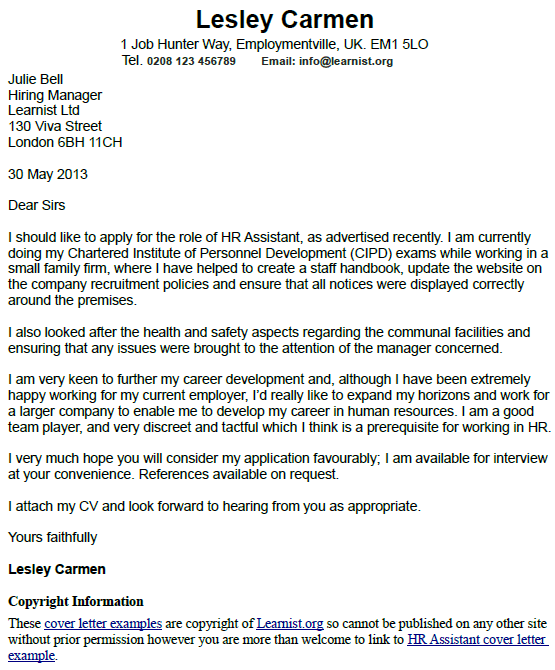 Hr Assistant Cover Letter Example Learnist Org