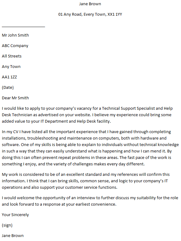 IT Support Technician Cover Letter Example  Learnistorg