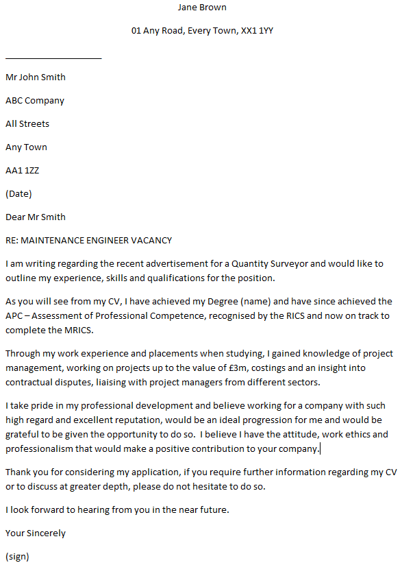 Quantity Surveyor Cover Letter Example  Learnistorg