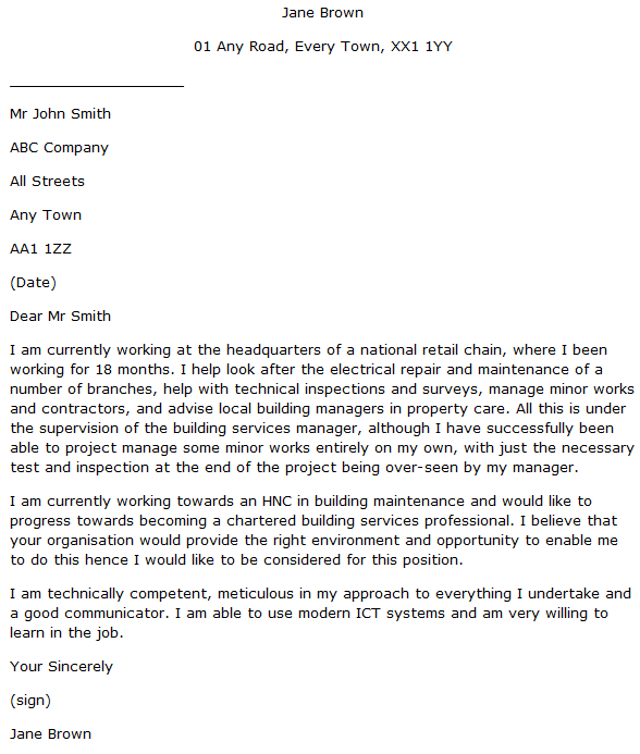 Building Engineer Cover Letter