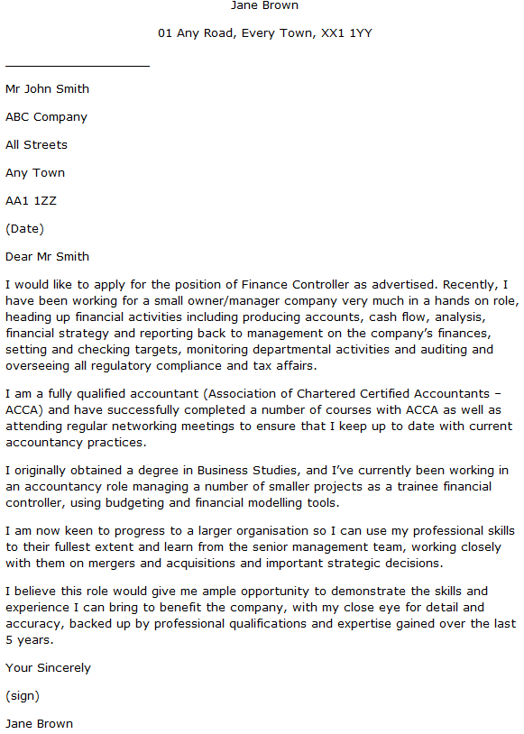 Finance Controller Cover Letter Example  Learnistorg
