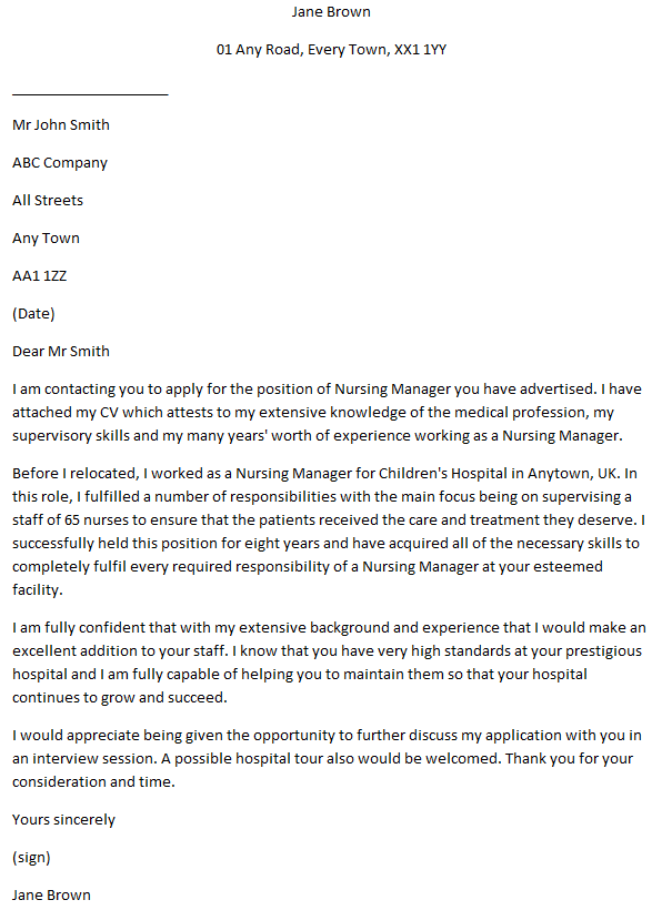 Nursing Manager Cover Letter Example  Learnistorg