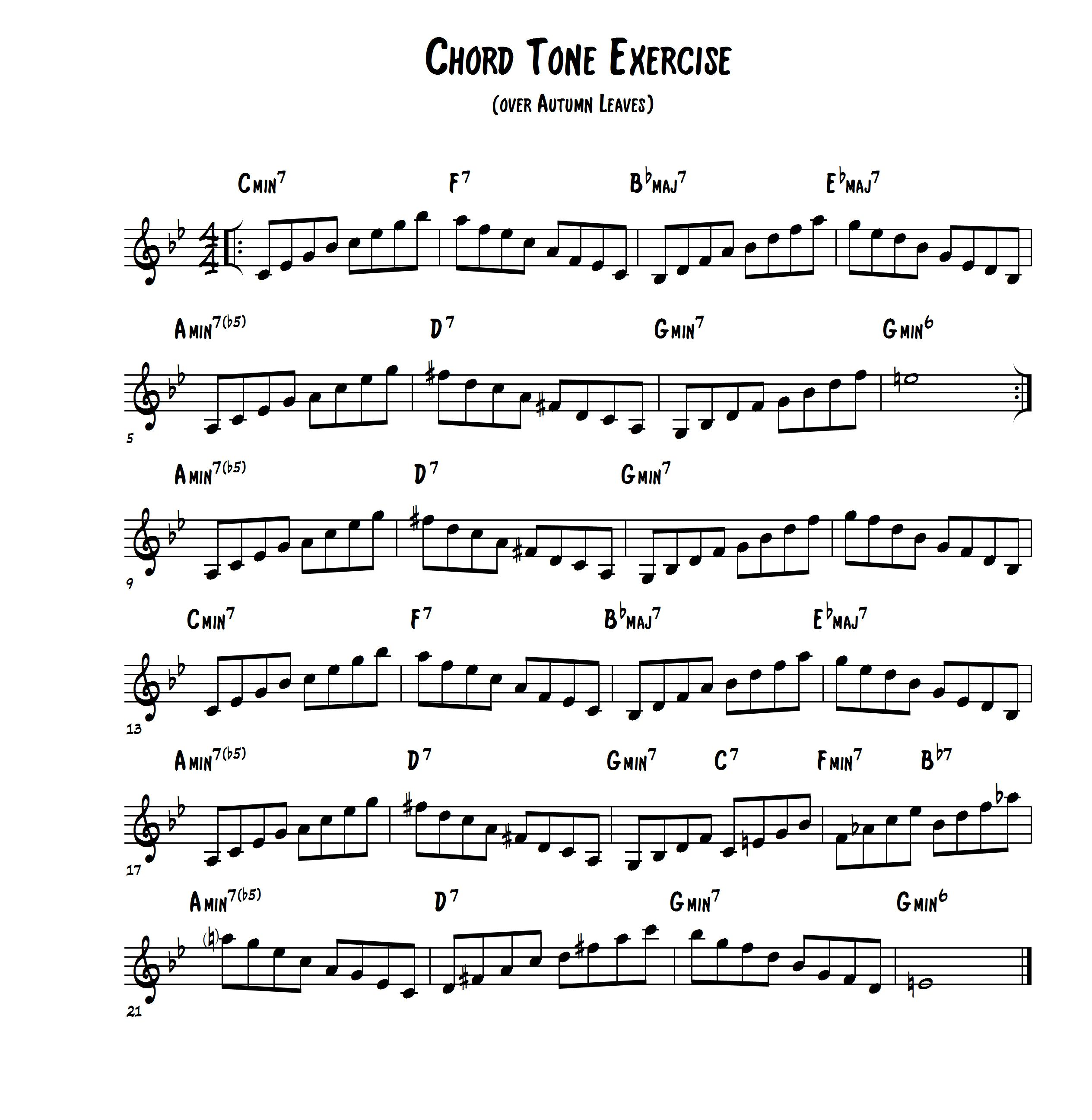Chord Tone Exercise Over Autumn Leaves