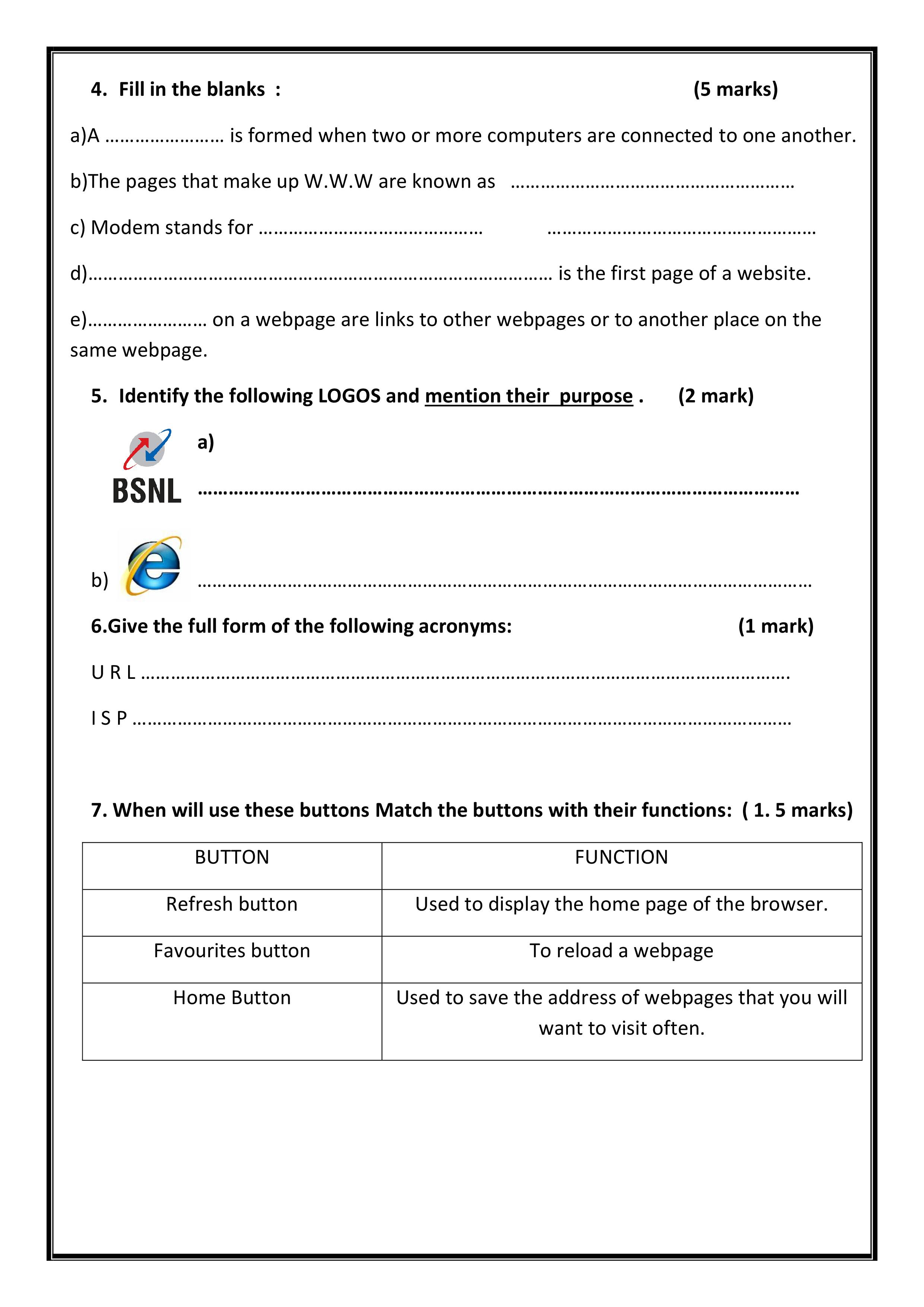 Internet Worksheet For Class 4 In Computer Science