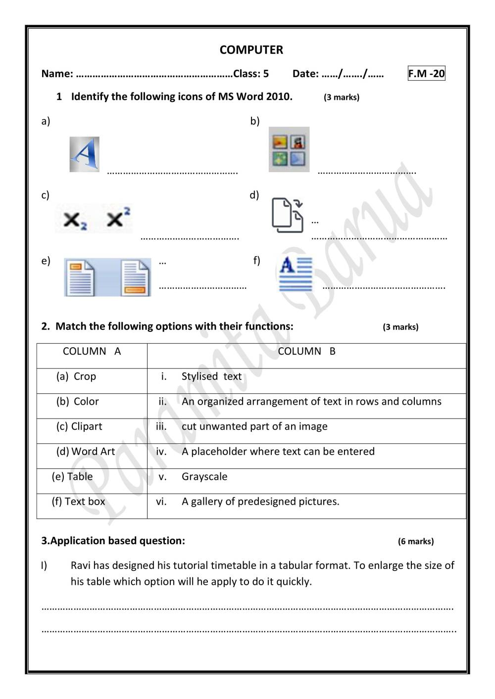 medium resolution of 2nd Worksheet For Class 5 On MS Word - Notes