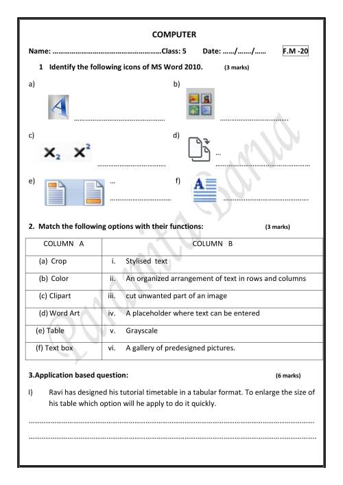 small resolution of 2nd Worksheet For Class 5 On MS Word - Notes