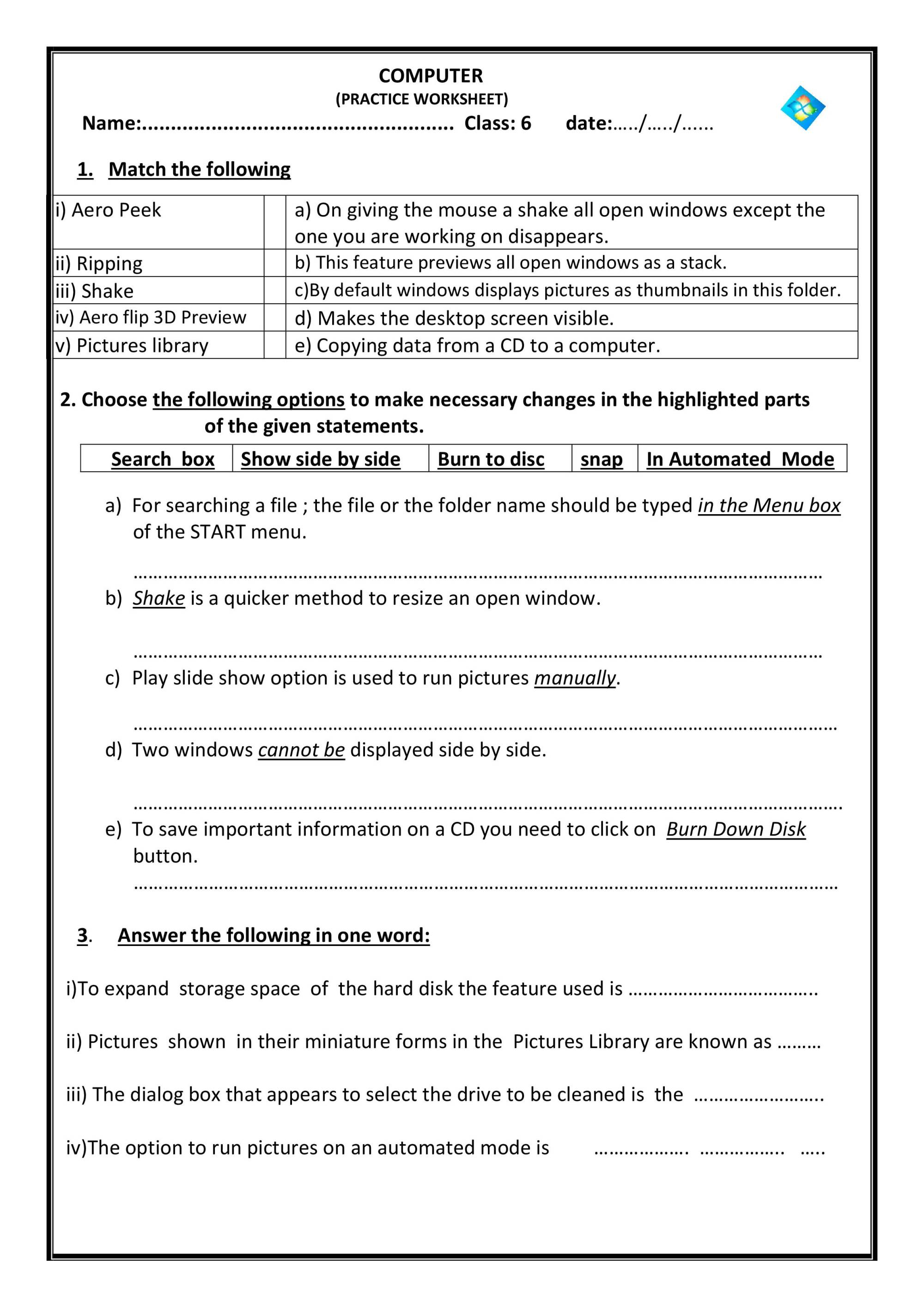 hight resolution of Worksheet For Class 2 - Notes