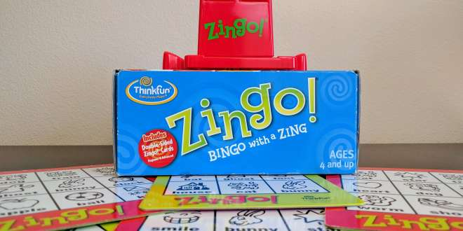 Zingo game with board tiles underneath