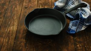 Cast iron pan on table