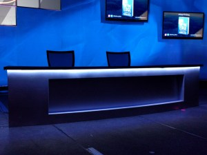 LED tape on desk