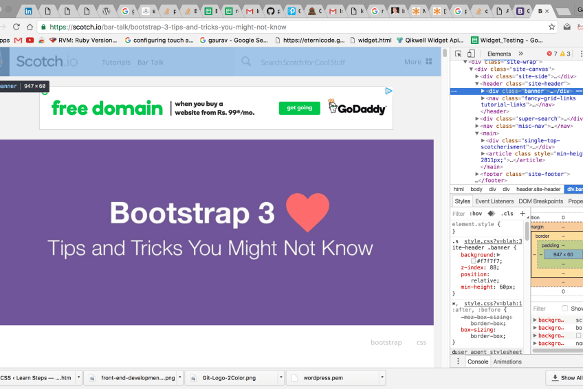 Best practices and mistakes while using Bootstrap and CSS.