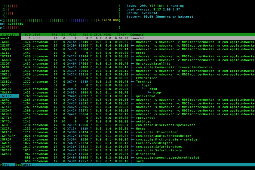 Monitor your unix system resources using HTOP.