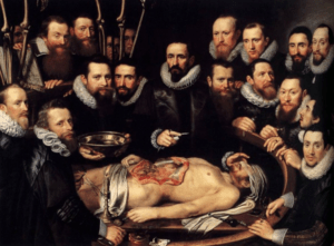 Michiel Jansz van Mierevelt, Anatomy lesson of Dr. Willem van der Meer, oil on canvas, Museum Het Prinsenhof