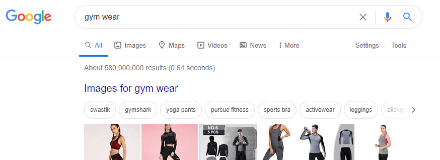 check how many results appeared for your search term