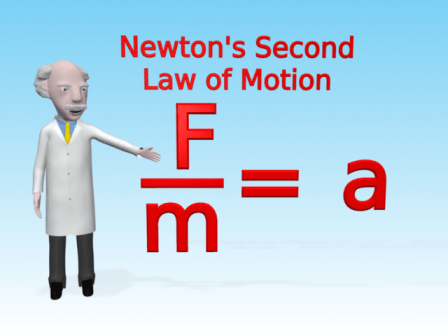 Mac shows the equation F=ma rearranged to give Force divided by mass equals acceleration