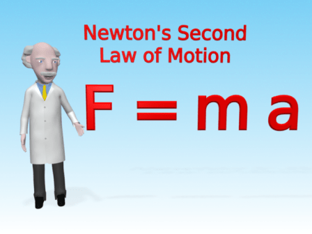 Mac is standing next to the equation Force equals mass times acceleration