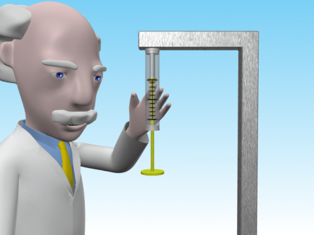 Professor Mac is showing a spring balance supported vertically from a frame