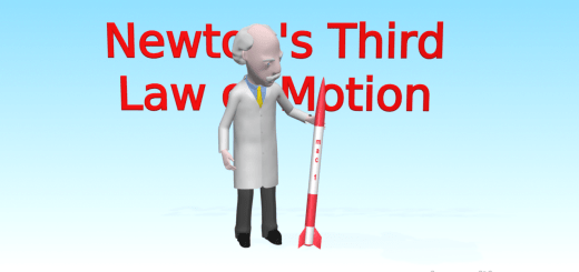 "Professor Mac is standing in front of red letters which say ""Newton's Third Law of Motion"""