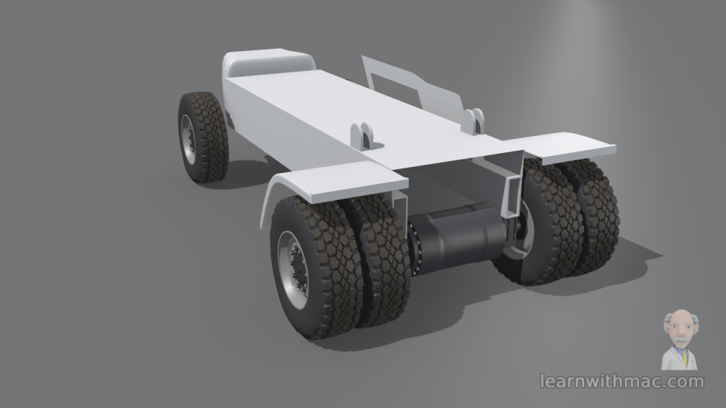 Six wheels are attached to a model of a basic steel vehicle frame